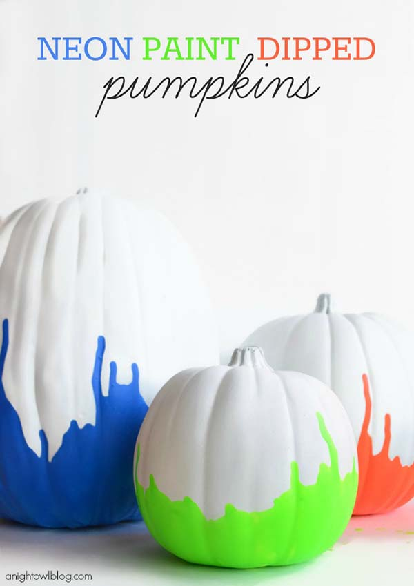 Neon Paint Dipped Pumpkins #pumpkin #falldecor #nocarve #homedecor #decorhomeideas