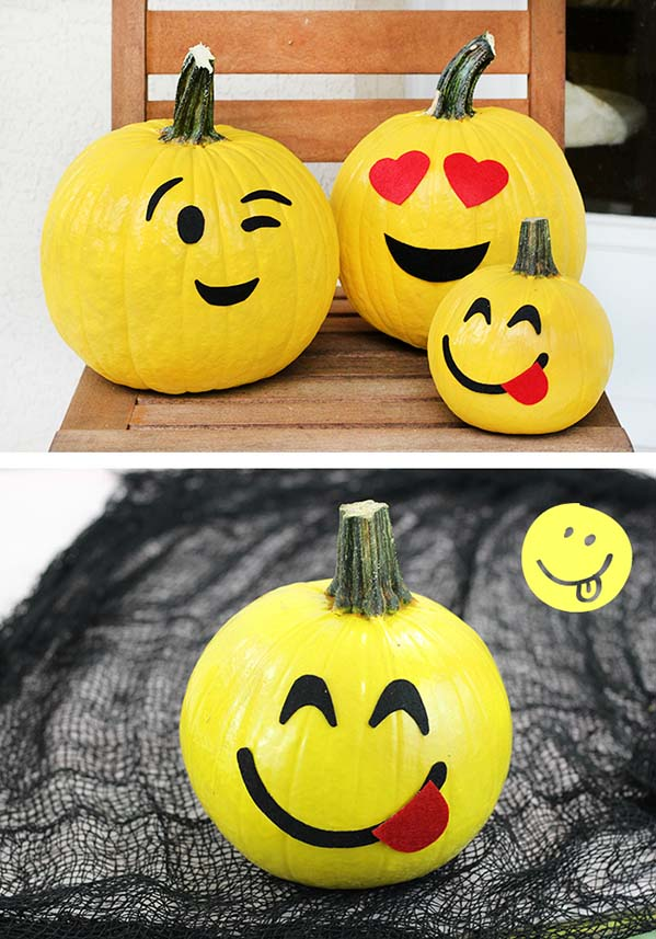 No-carve emoji pumpkins #pumpkin #falldecor #nocarve #homedecor #decorhomeideas