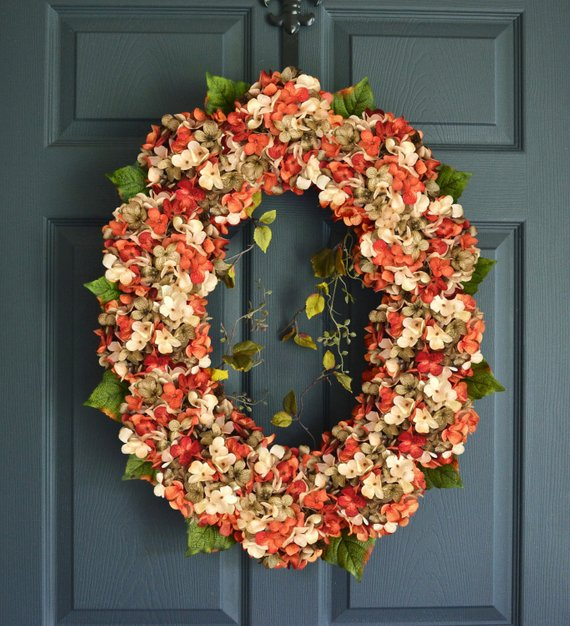 Oval Hydrangea Wreath #wreath #falldecor #fallwreath #falldecoration #decorhomeideas