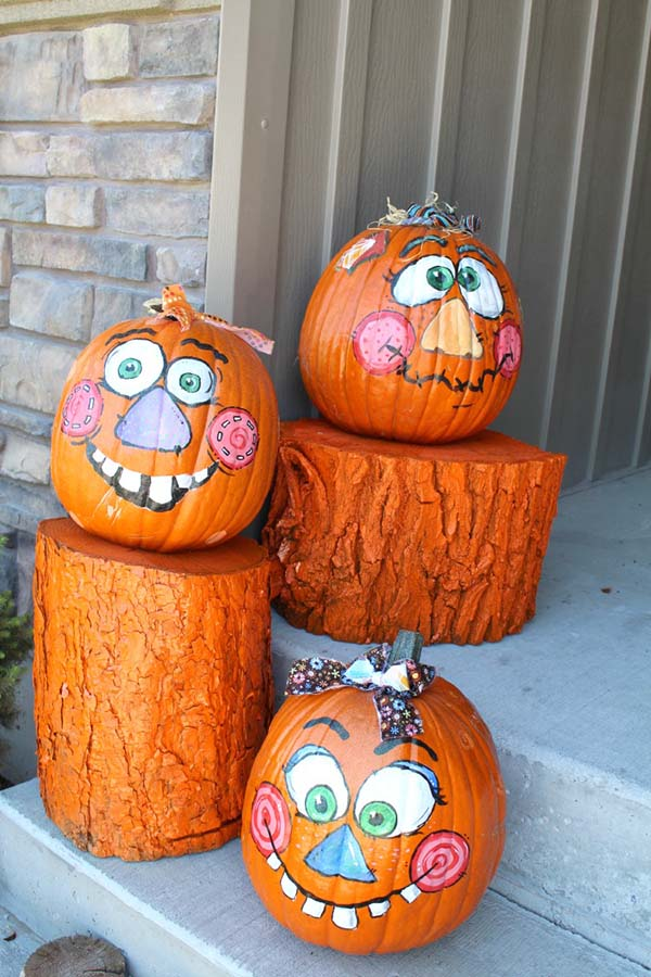Painted Log Pumpkins #pumpkin #falldecor #nocarve #homedecor #decorhomeideas