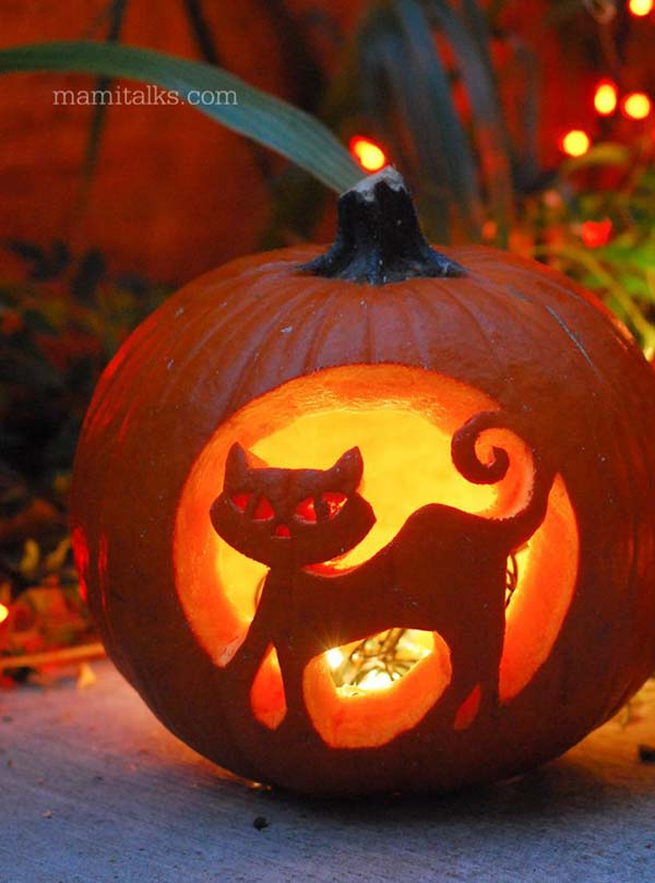 Pumpkin Carved Cat #pumpkin #carving #halloween #falldecor #decorhomeideas