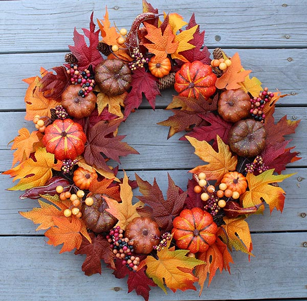 Pumpkin Harvest Wreath #wreath #falldecor #fallwreath #falldecoration #decorhomeideas