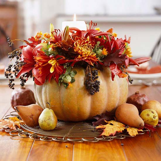 Pumpkin Vase Centerpiece #pumpkindecor #centerpiece #falldecor #decorhomeideas