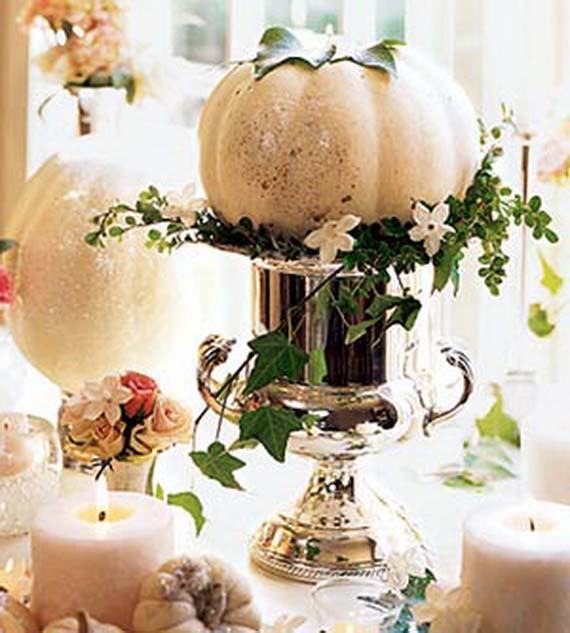 Pumpkins and Greenery #pumpkindecor #centerpiece #falldecor #decorhomeideas