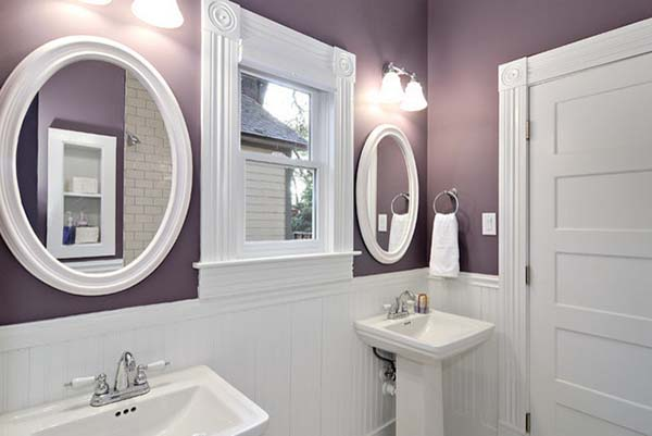 Purple and White Bathroom Paint Color #purplebathroom #purple #bathroom #lavender #bathroomideas #decorhomeideas