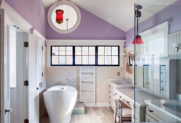 Purple bathroom ceiling accent #purplebathroom #purple #bathroom #lavender #bathroomideas #decorhomeideas