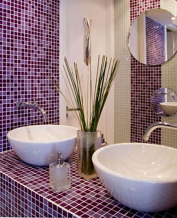 Purple bathroom mosaic tiles #purplebathroom #purple #bathroom #lavender #bathroomideas #decorhomeideas