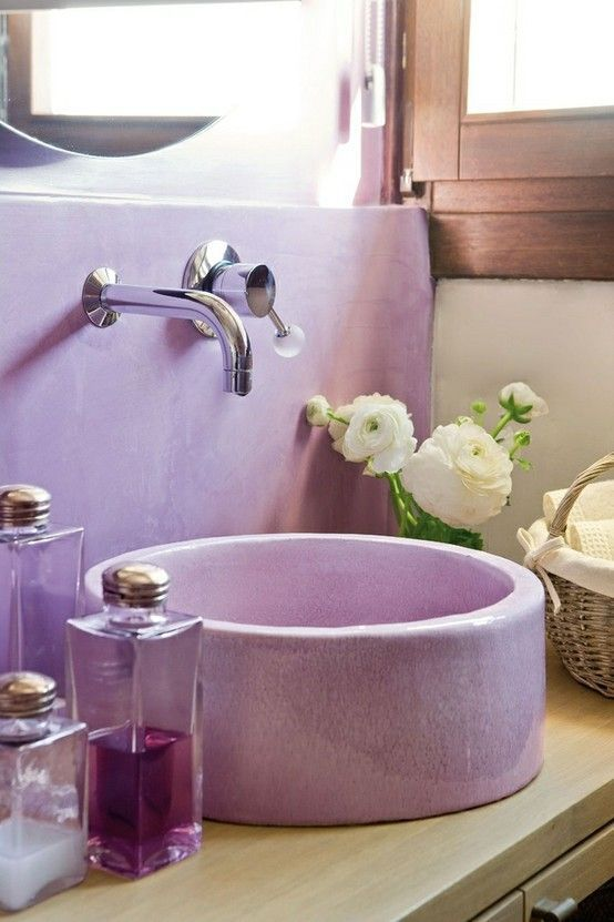 Purple bathroom vessel sink #purplebathroom #purple #bathroom #lavender #bathroomideas #decorhomeideas