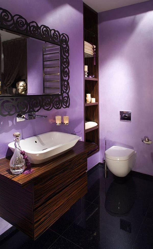 Purple bathroom with dark wood vanity #purplebathroom #purple #bathroom #lavender #bathroomideas #decorhomeideas