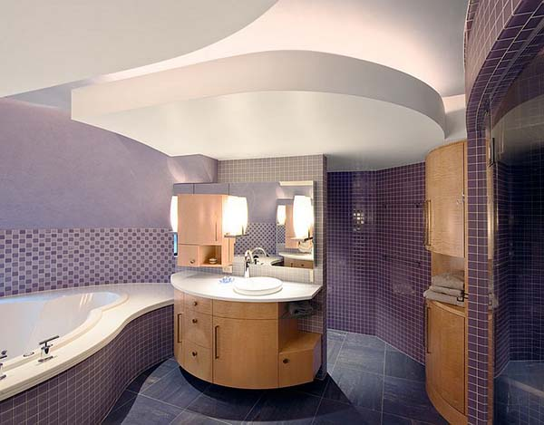 Purple tiles bathroom design #purplebathroom #purple #bathroom #lavender #bathroomideas #decorhomeideas