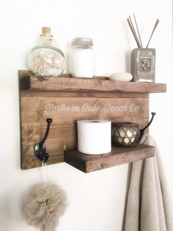 Rustic Farmhouse Shelf #countrybathroom #countrydecor #bathroom #farmhouse #decorhomeideas