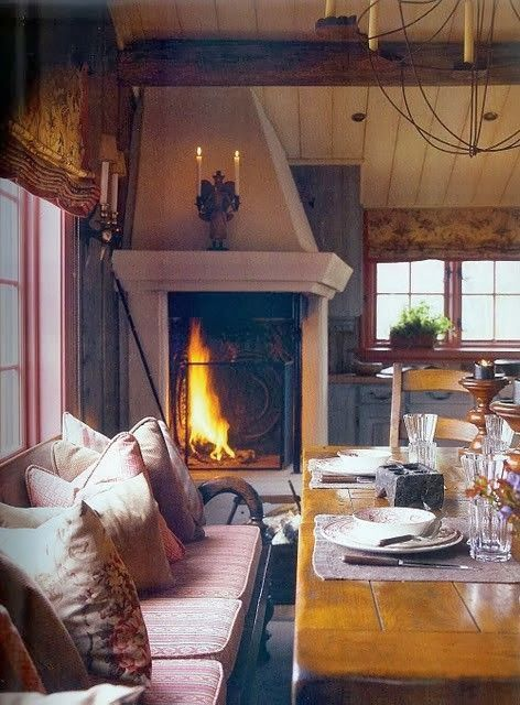 Rustic Interior With Corner Fireplace #fireplace #fireplaceideas #corner #decorhomeideas