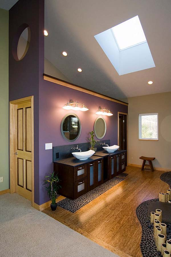 Skylight purple bathroom #purplebathroom #purple #bathroom #lavender #bathroomideas #decorhomeideas