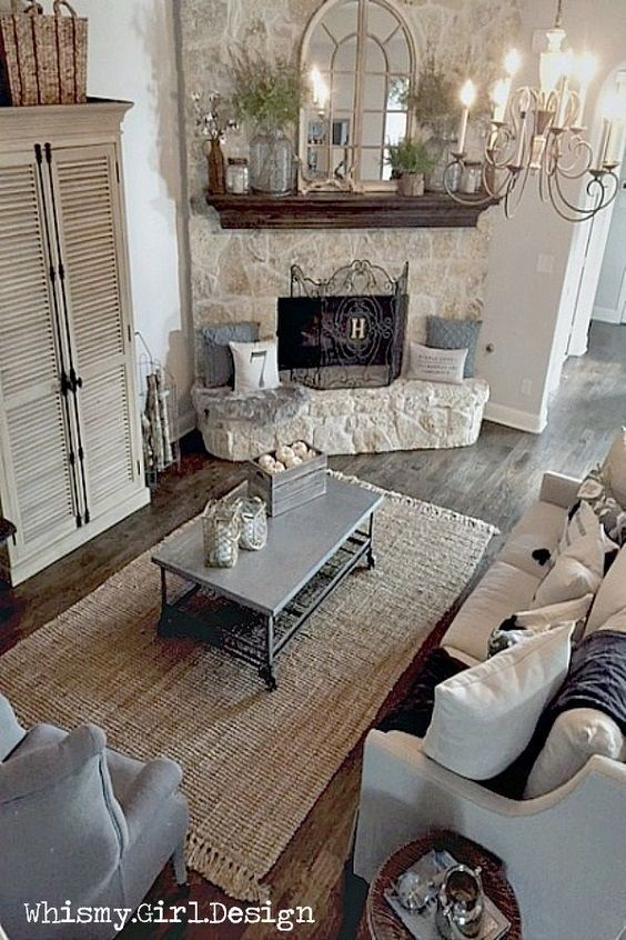 Stone corner fireplace in shabby chic living room #fireplace #fireplaceideas #corner #decorhomeideas