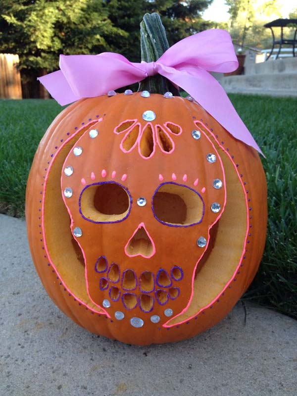 Sugar Skull Carved Pumpkin Decoration #pumpkin #carving #halloween #falldecor #decorhomeideas