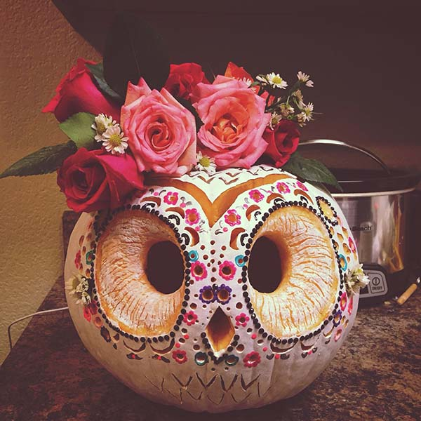 Sugar Skull Owl Carved Pumpkin #pumpkin #carving #halloween #falldecor #decorhomeideas
