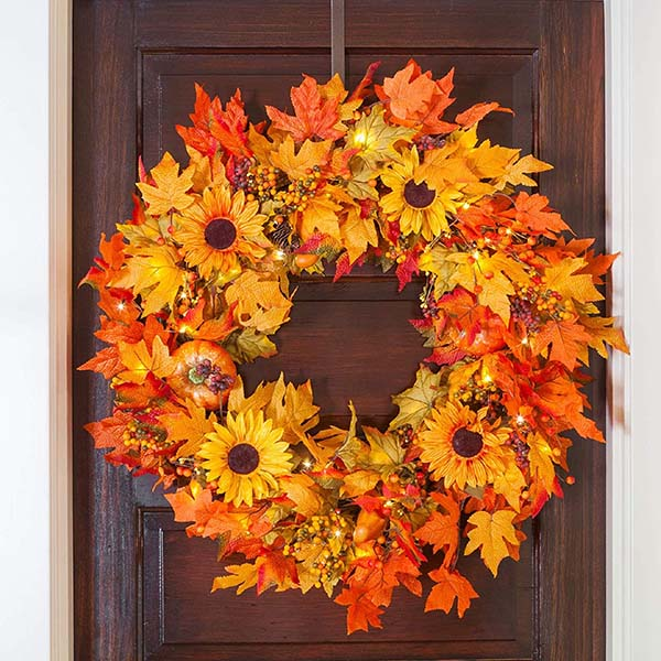 Sunflower Fall Wreath #wreath #falldecor #fallwreath #falldecoration #decorhomeideas