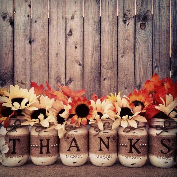 Thanks Mason Jars Fall Decor #falldecor #etsy #fallideas #falldecoration #decorhomeideas