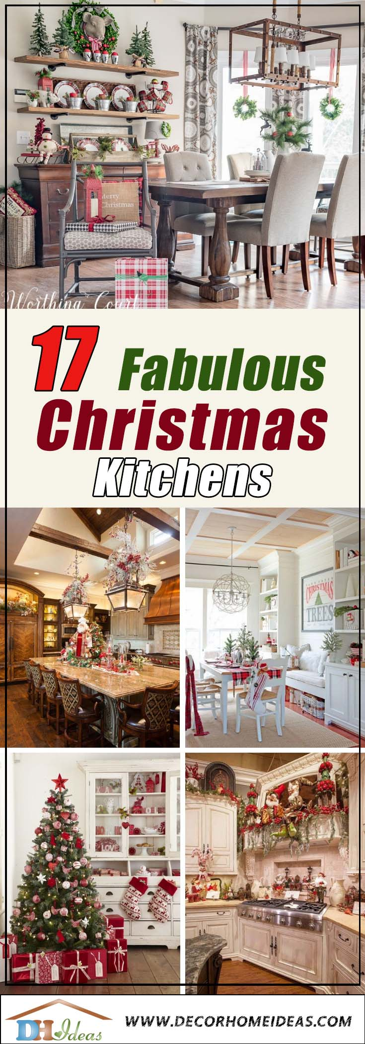 Amazing Christmas Kitchens #Christmas #Christmasdecor #kitchen #Christmaskitchen #decorhomeideas