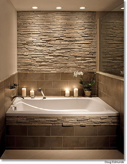 Bathroom tub ideas with Stone tile Wall