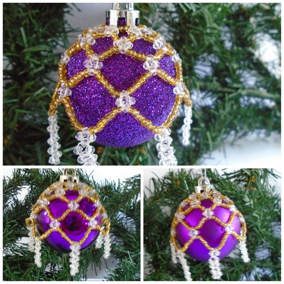 Beaded Purple Christmas Baubles #Christmasdecor #purple #Christmas #decorhomeideas