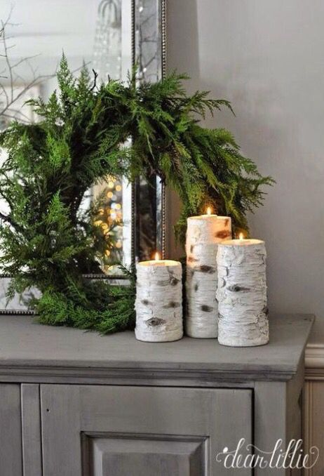 Birch candles Christmas Decor #Christmas #Christmasdecor #nature #natural #natureinspired #decorhomeideas