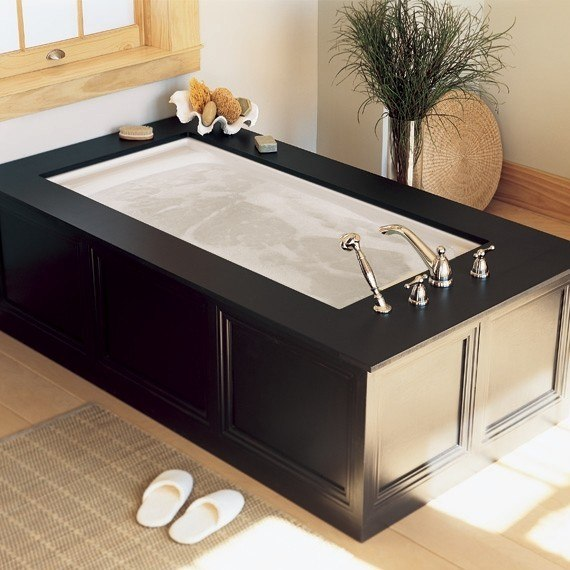 Black Decorated Drop-In Tub #dropintub #bathtub #tub #ideas #decorhomeideas