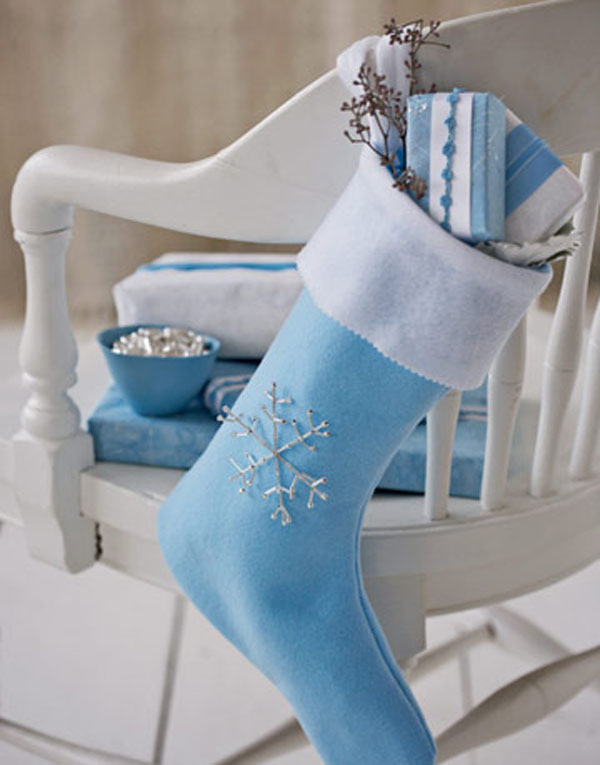 Blue Stocking for Christmas #Christmas #Christmasdecor #blue #silver #turquoise #decorhomeideas