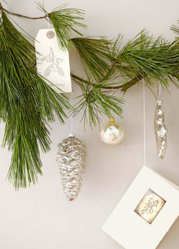 Branch out with ornaments #Christmas #Christmasdecor #nature #natural #natureinspired #decorhomeideas