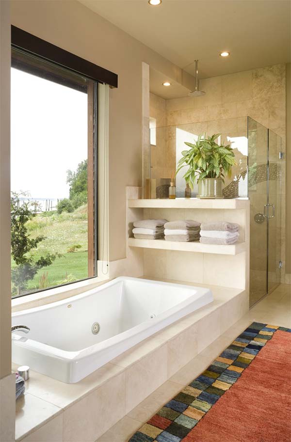 Built-In Bathtub With Open Shelves Storage