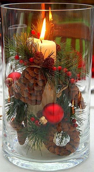 Candle Christmas Centerpiece #Christmas #centerpieces #Christmasdecor #decorhomeideas
