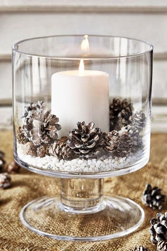 Candle In Glass Christmas Centerpiece #Christmas #Christmasdecor #pinecones #crafts #decorhomeideas