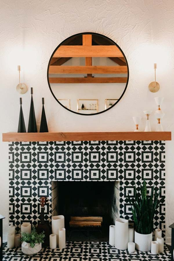 Cement Tile Fireplace Design #fireplace #fireplacedesign #tile #fireplacetile #decorhomeideas
