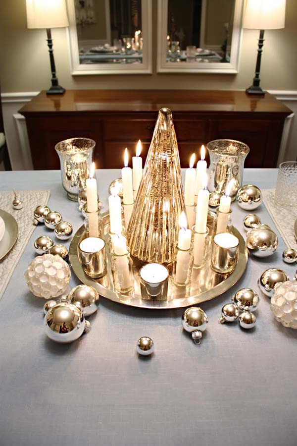 Christmas Candle Centerpiece Gold And Silver #Christmas #Christmasdecor #candles #centerpiece #decorhomeideas