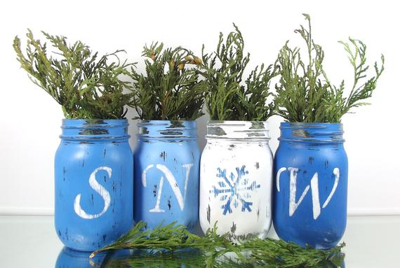 Christmas Decor Blue Mason Jars #Christmas #Christmasdecor #blue #silver #turquoise #decorhomeideas