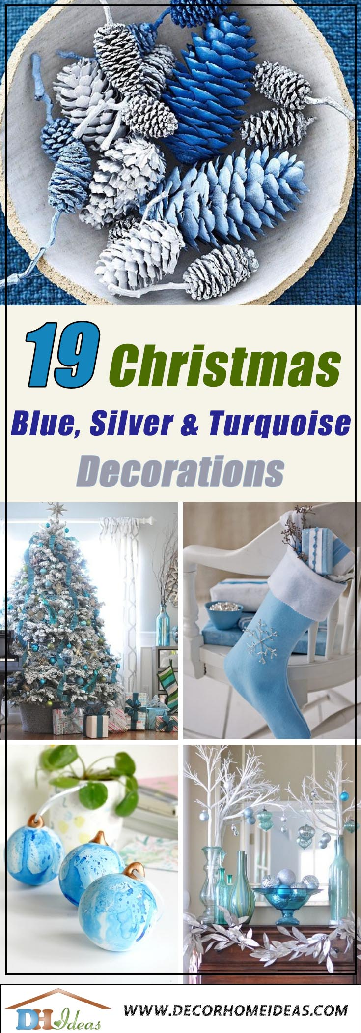 Christmas Decorations In Blue, Silver and Turquoise #Christmas #Christmasdecor #blue #silver #turquoise #decorhomeideas