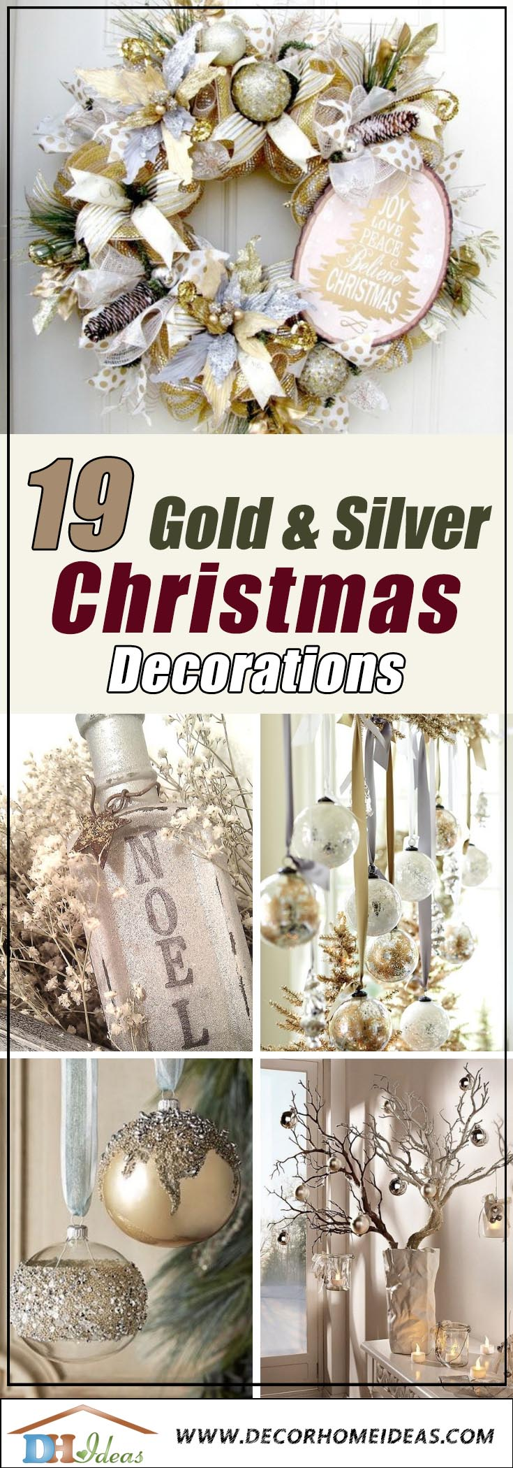 Christmas Decorations In Gold and Silver