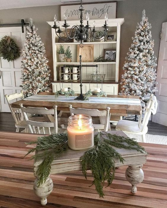 Christmas Farmhouse Decor Ideas #farmhouse #Christmas #Christmasdecor #farmhousedecor #decorhomeideas