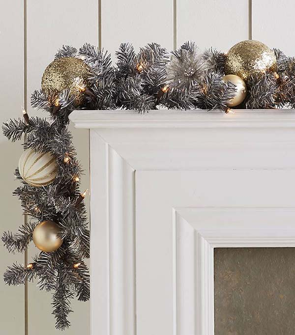 Christmas Garland In Silver And Gold