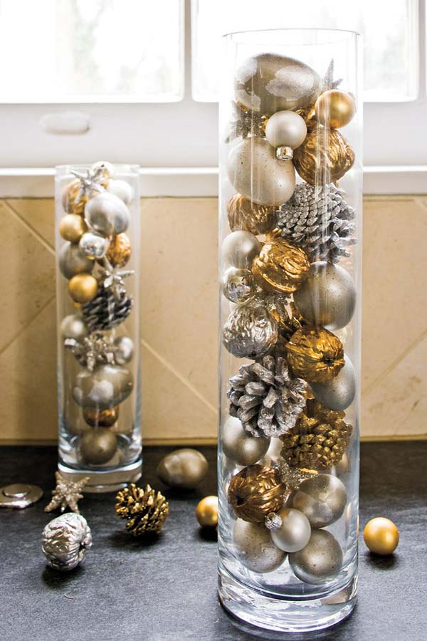 Christmas Glass Cylinders Filled With Gold And Silver-Ornaments