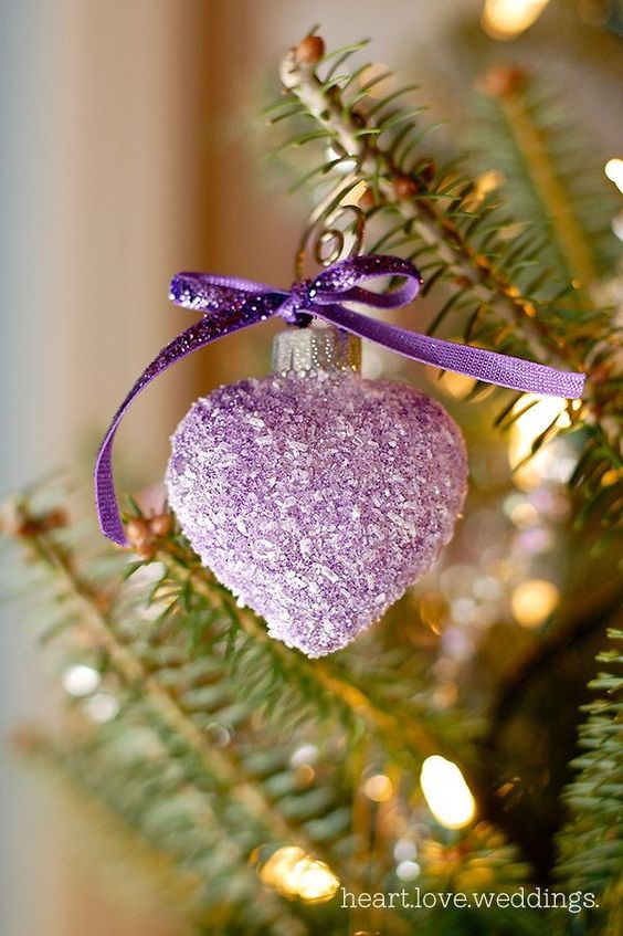 Christmas Heart Shaped Purple Ornament #Christmasdecor #purple #Christmas #decorhomeideas