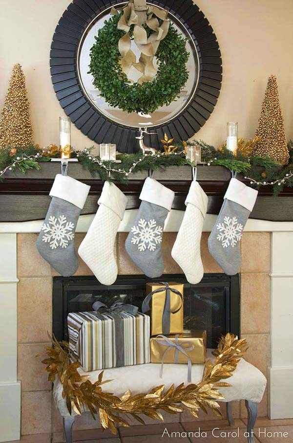 Christmas Mantel Decoration In Gold And Silver