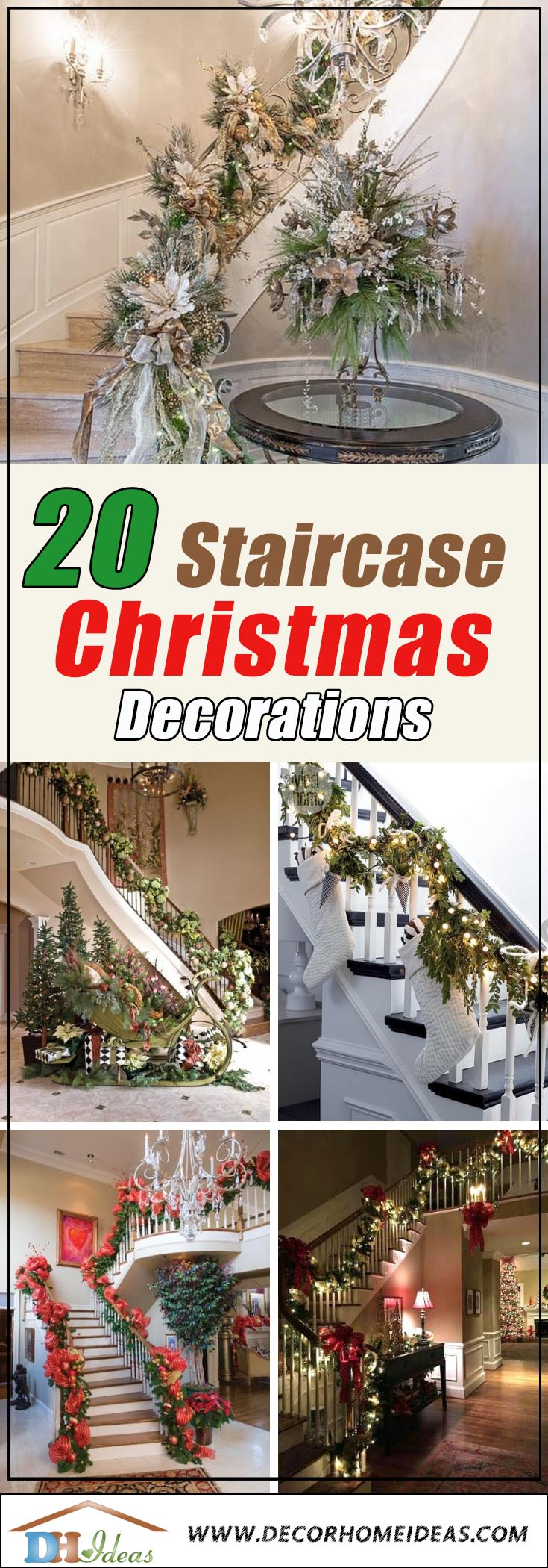 Christmas Stairways Decoration #Christmasdecor #staircase #stairs #stairway #Christmas #decorhomeideas