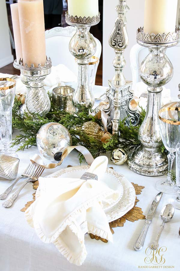 Christmas Table Centerpiece In Gold And Silver