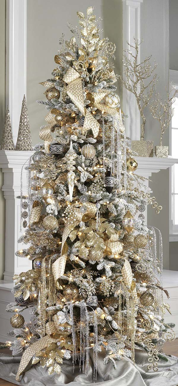 Christmas Tree In Gold And Silver