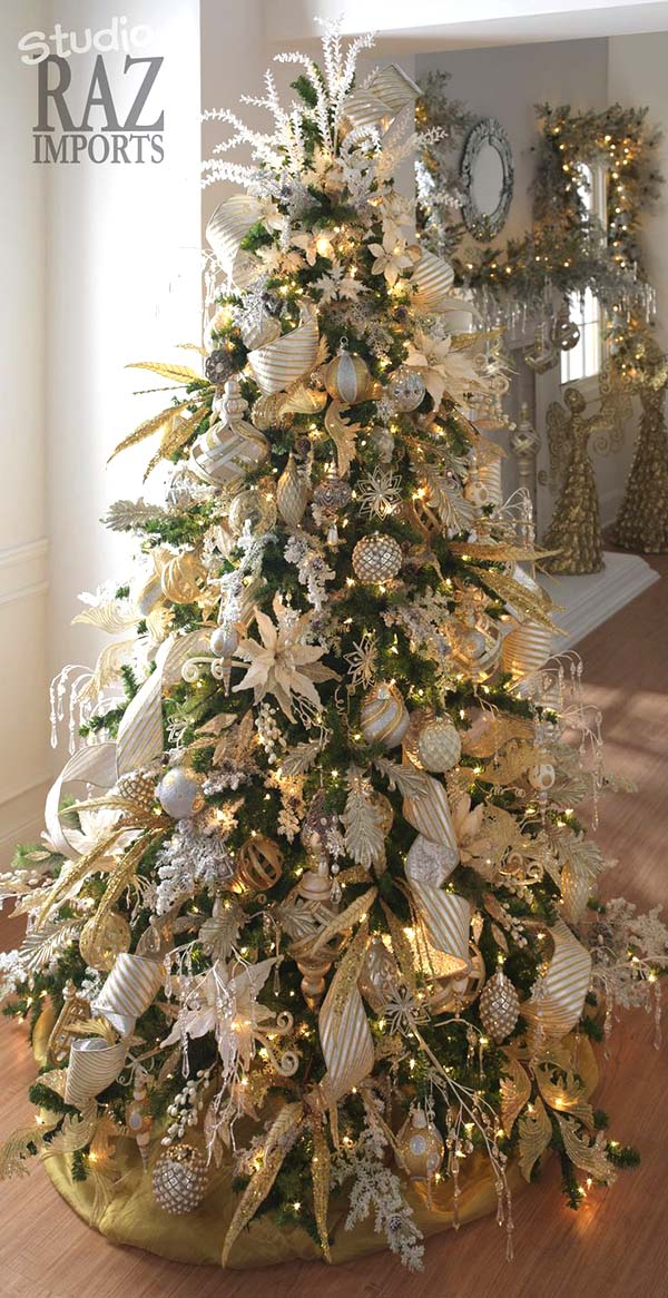 Christmas Tree In Silver And Gold Decoration