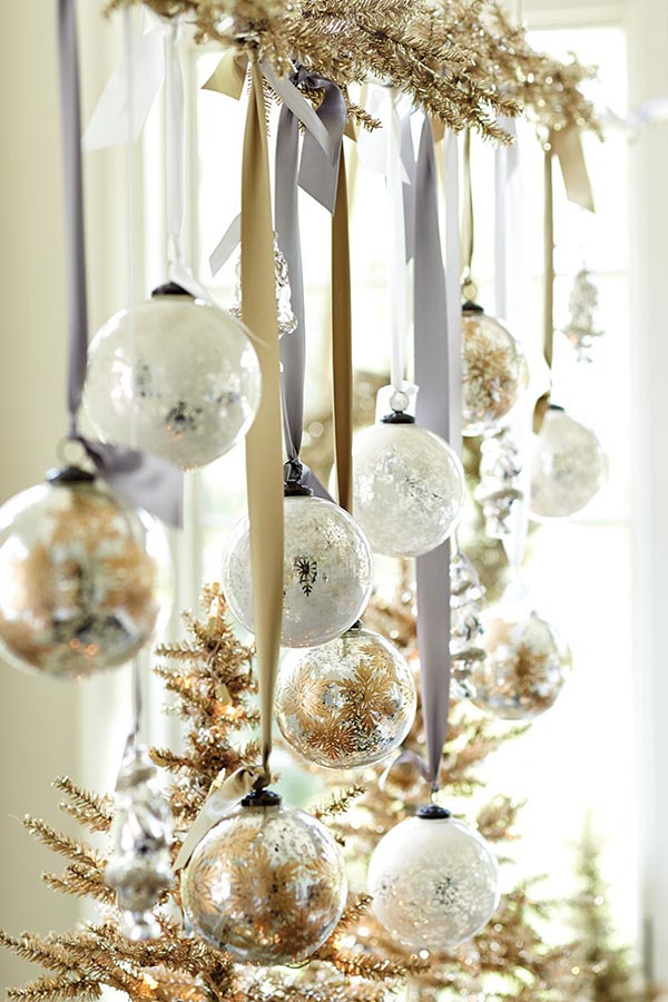 Christmas Tree Ornaments In Gold And Silver