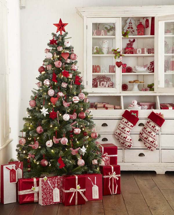 Christmas Tree and Red Wrapped Gifts In Kitchen #Christmas #Christmasdecor #kitchen #Christmaskitchen #decorhomeideas