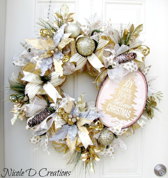 Christmas Wreath In Silver And Gold