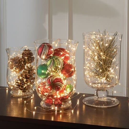 Christmas centerpieces in glass #Christmas #centerpieces #Christmasdecor #decorhomeideas